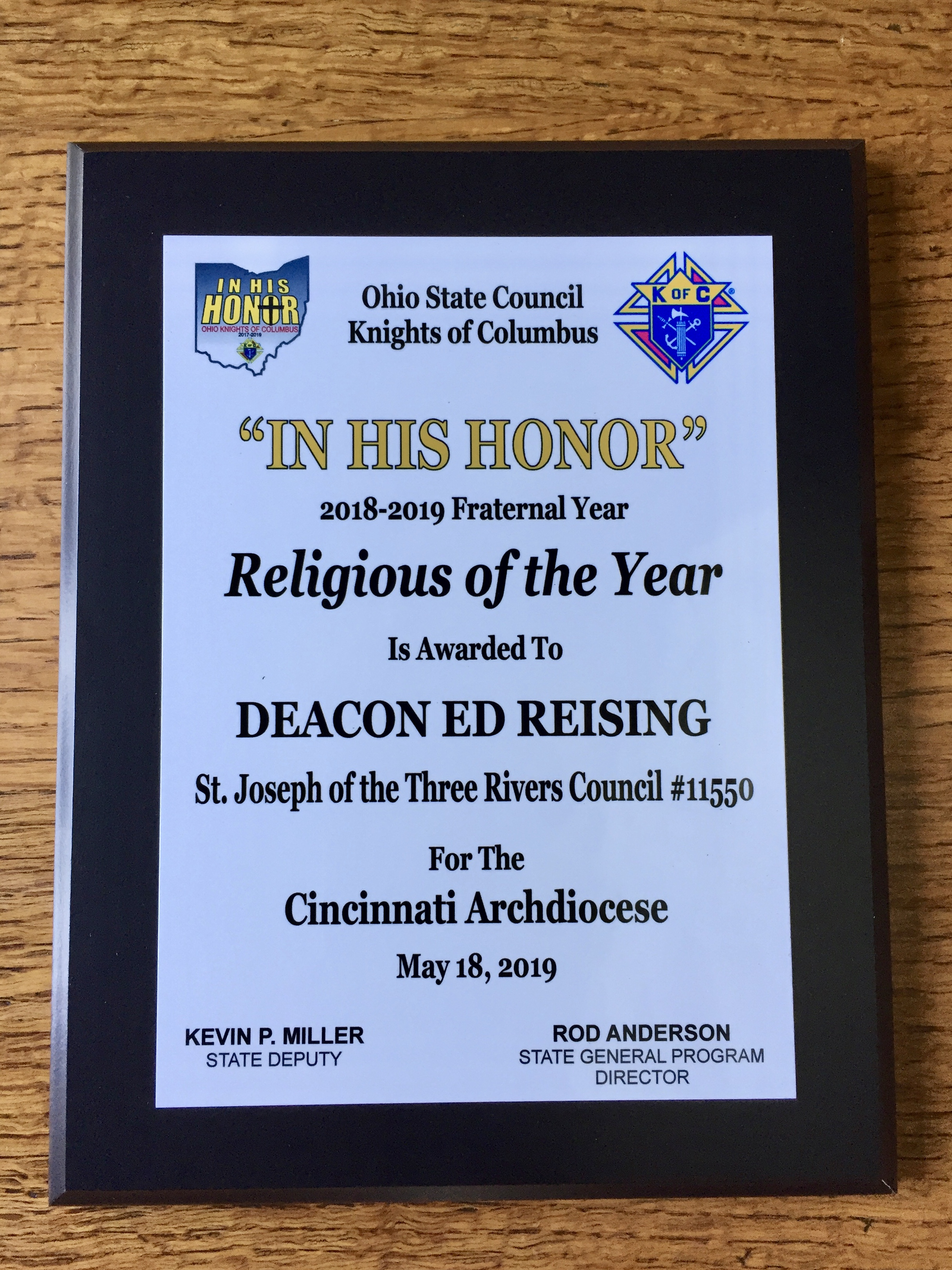 Religious of the Year - Deacon Ed Reising